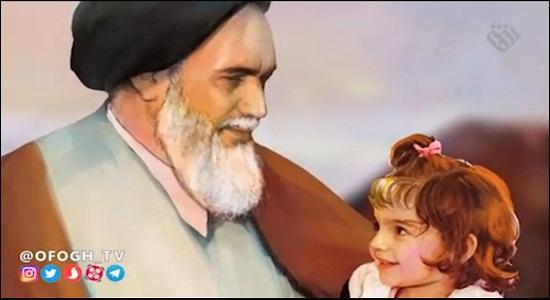 گریه دختر کوچولوی شهید مقابل امام خمینی