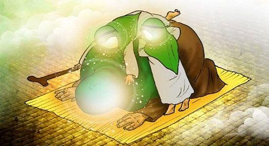 مهرباني به كودك در حال نماز